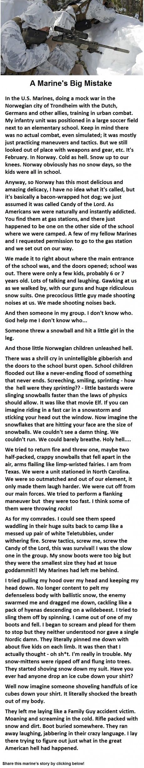 As a Norwegian this is the funniest shit I have read all day.  This I literally how we play in snow.