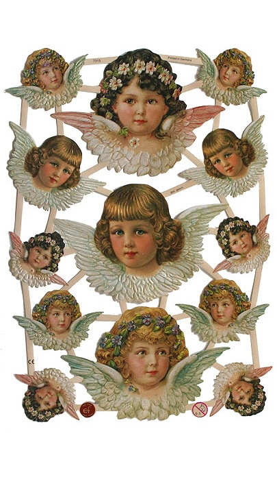 German Victorian angel scraps for card making and Christmas ornaments