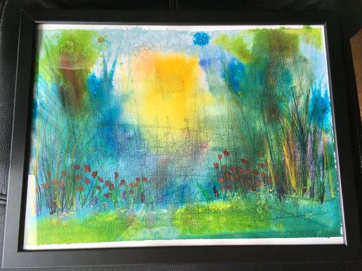 Early morning meadow - watercolour and inks with special effects - Original one-off painting, ready to hang by KnottyThistle on Etsy