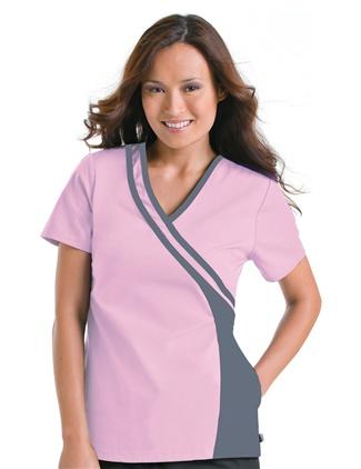 Double Piped Crossover Top #9518    #scrubs #UrbaneScrubs #nurse #nursing #nurses #health #healthcare #breastcancer #awareness @UrbaneScrubs