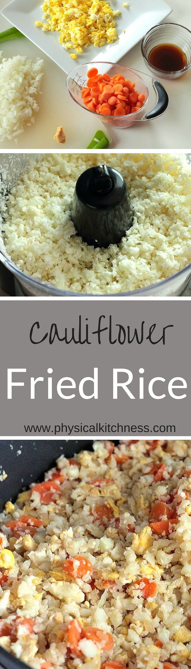 An easy recipe for cauliflower fried rice. Great alternative to carb-loaded traditional fried rice.