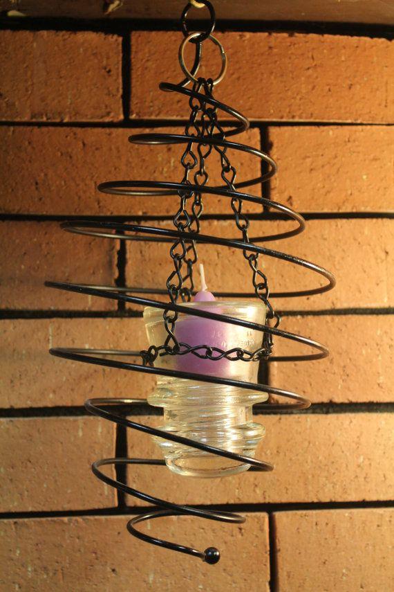 Repurposed Hemingray 17 Electric Insulator Hanging Candle Holder