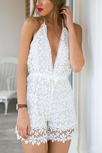 Plunging V-neck Backless Playsuit With Lace Details