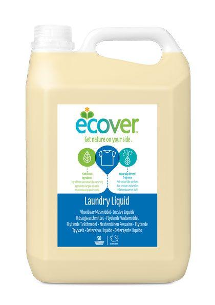ECOVER folyékony mosószer 5l - nagy kiszerelés. Természetes összetevők, öko címke, kézi és gépi, alacsony hőfokos, fehér és színes mosáshoz is. (Új dizájnos flakon.)