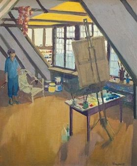 Portait of the artist in her studio By Marjorie Wallace