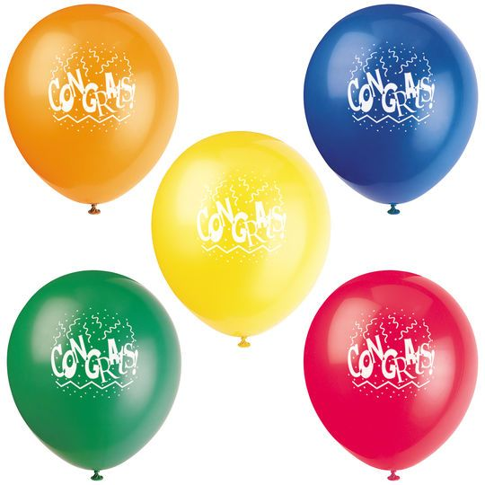 "12"" Latex Congratulations Balloons, Assorted 8ct"