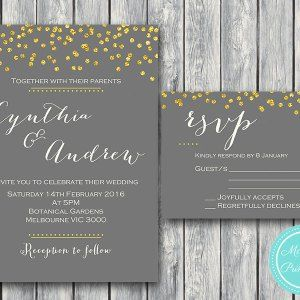 Gold Wedding Invitation Set Invitation Suite WD47 WI07 #babyshowerideas4u #birthdayparty  #babyshowerdecorations  #bridalshower  #bridalshowerideas #babyshowergames #bridalshowergame  #bridalshowerfavors  #bridalshowercakes  #babyshowerfavors  #babyshowercakes