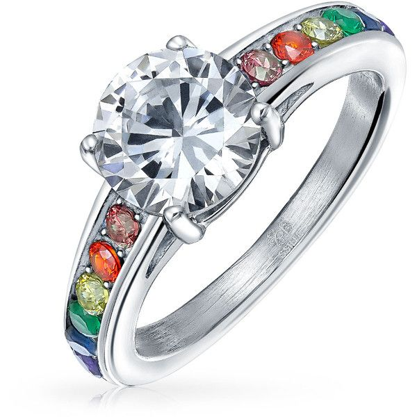 Stainless Steel 2ct CZ Glass Rainbow Pride Engagement Ring ($20) ❤ liked on Polyvore featuring jewelry, rings, rings engagement rings, cz engagement rings, engagement rings solitaire, cubic zirconia rings, solitaire ring and cz solitaire ring
