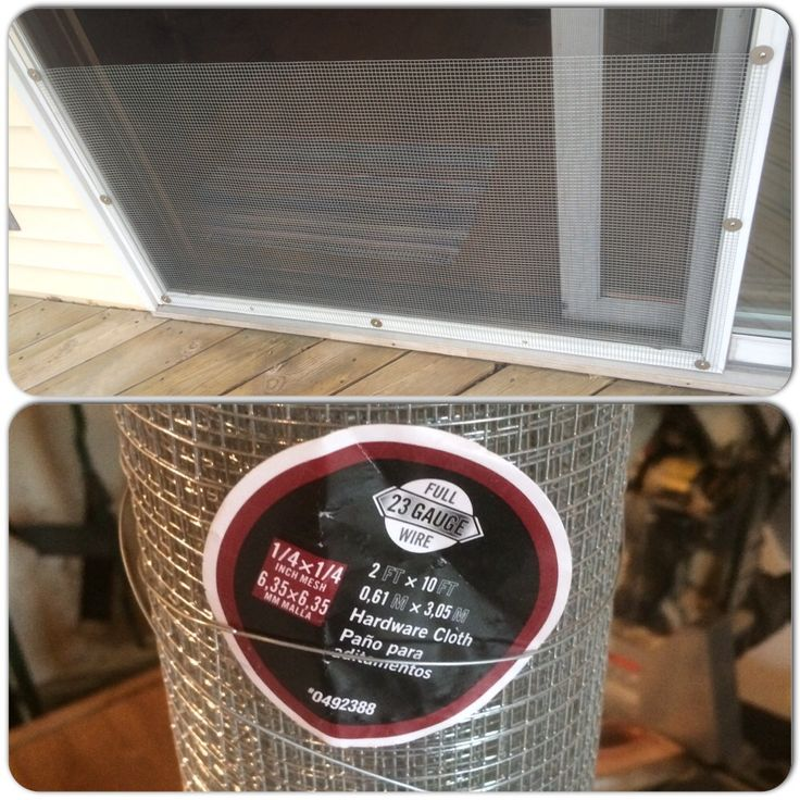 Cheap dog / cat screen protector. We had a problem with the dogs pushing through the screen. We found screen protectors for normal size doors, but could find a good one that was cheap for a sliding door. What we came up with was using a roll of hardware cloth and screwing it to the sliding screen with stainless screws and washers. Total cost was around $18.00