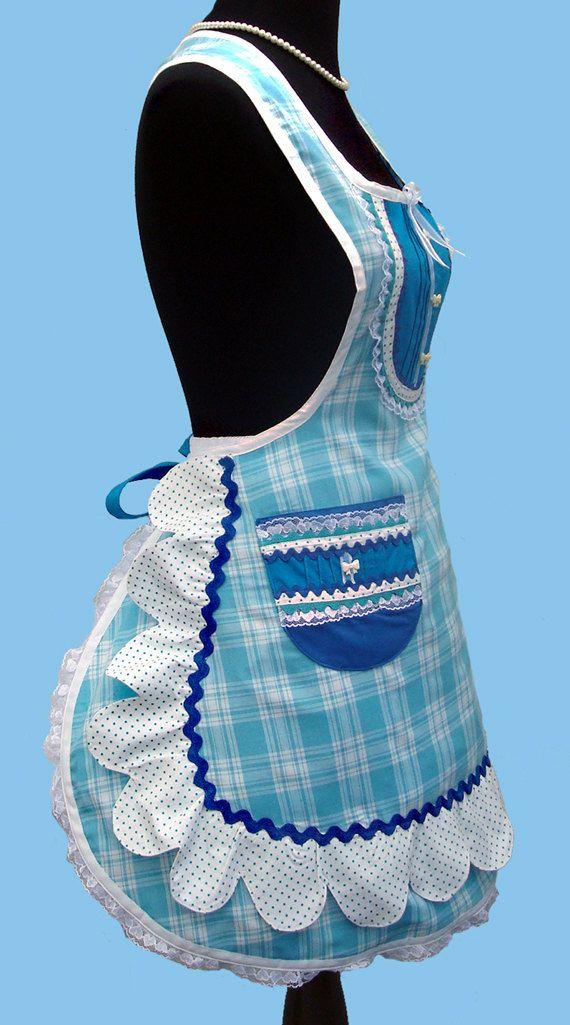 Azul de delantales  delantal Retro de las mujeres de las