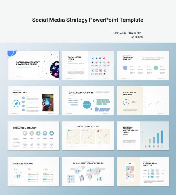 Social Media Strategy Powerpoint Template Business Plan
