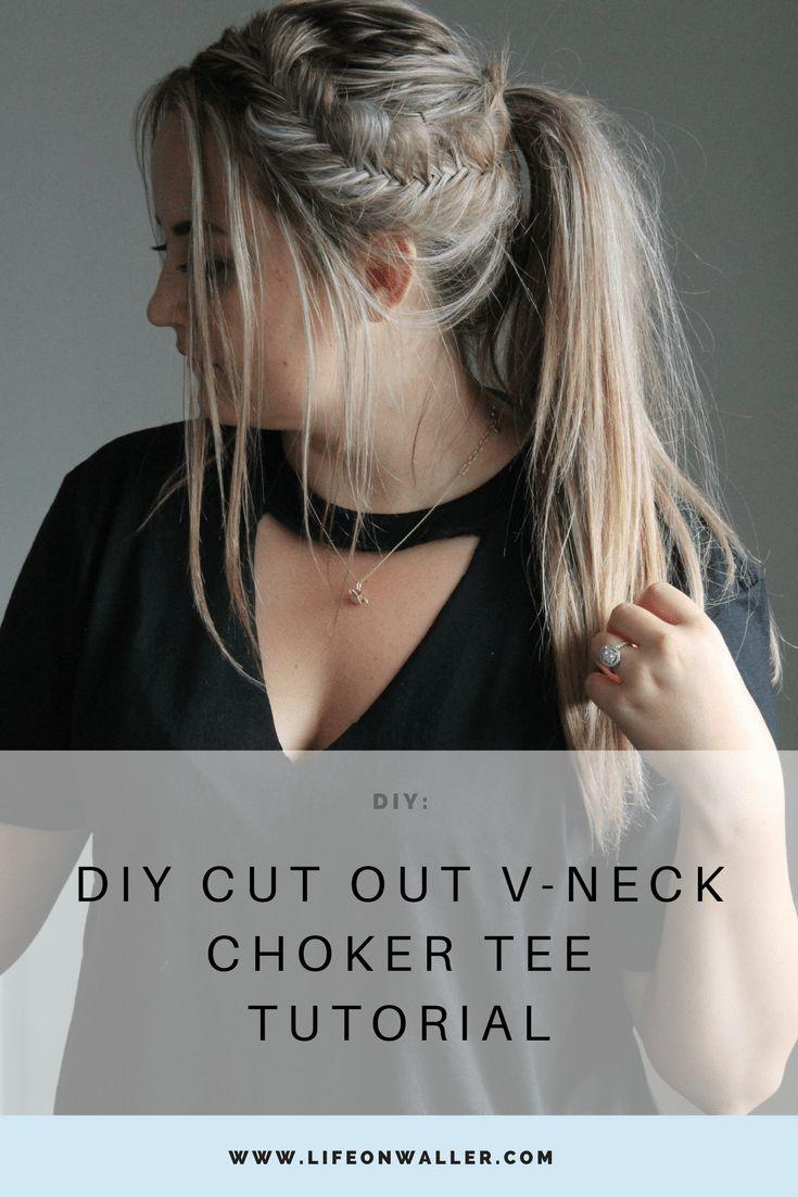 Zelfgemaakte uitgesneden V-hals choker tee tutorial