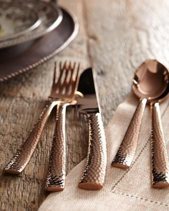 Hammered flatware for a rustic feel