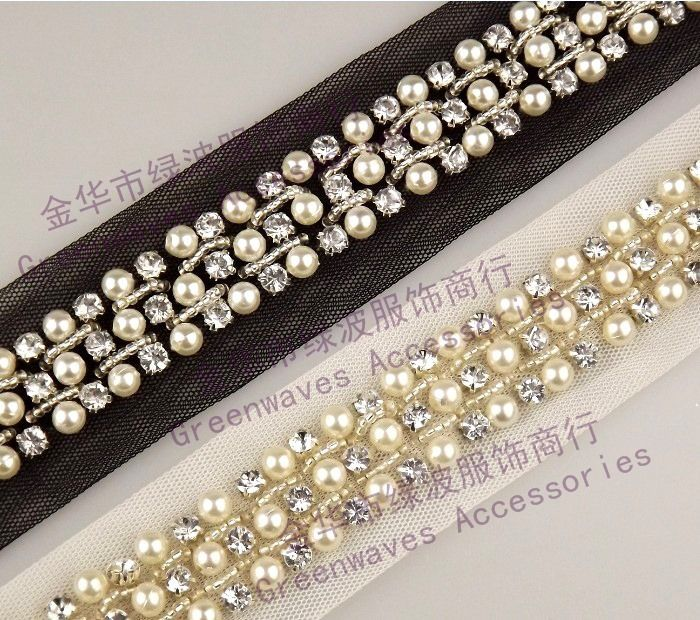 2Yards 4cm Pearl Rhinestone Beaded Lace Trim Vintage Mesh Fabric Paillette Chemical Lace Wedding Dress Dentelle Applique AC0206(China (Mainland))