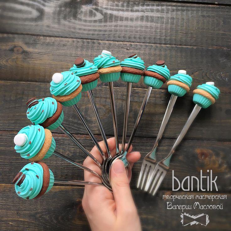 Cuchara / Tenedor con pastelitos de menta