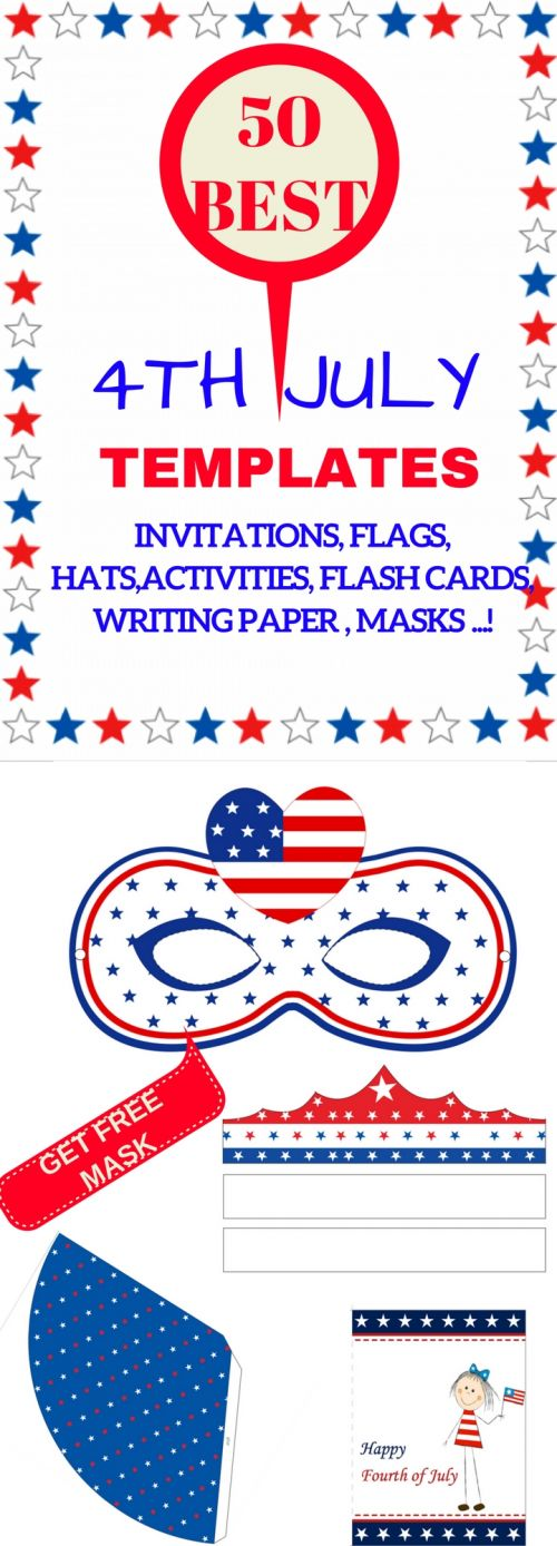 Get the BEST for 4th July party. Start with FREE printable mask. Make it FUN, make it YOURS. Kids and adults will love it. Make it for all family members and go to the parade. Sign up for new best of the templates for July Fourth BIG Day! #julyfourth