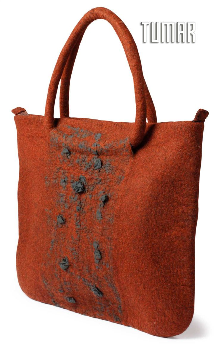 Bag. Composition: felt (100% wool). Front side - wool + unbleached calico. Handmade, solid-rolled. Technique - resist felting + nuno-felting. Color: brown mélange. Catalogue: Going Wild, 2016. Tumar Art Group.