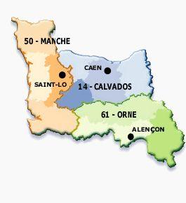 Carte de la région Basse Normandie