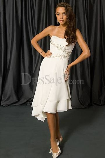 Gorgeous Tea-Length Chiffon Dress with Applique Detail and Asymmetrical Hemline