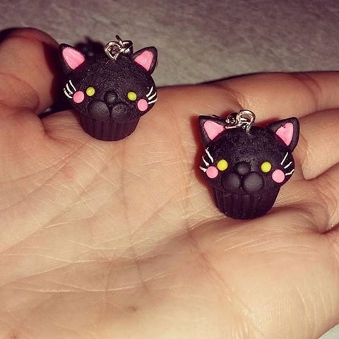 Orecchini pendenti linea cupcake gatto di ILCAPPELLAIOMATStore