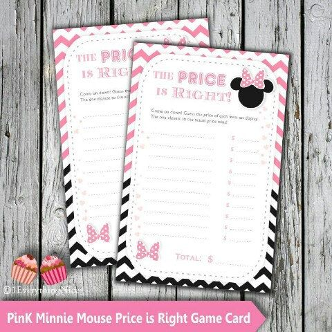 game card game prices minnie mouse baby shower baby shower games cute