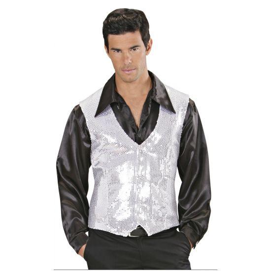 Wit met zilver pailletten vestje voor heren  Witte gilet met zilveren pailletten. Wit glimmend vestje met 3 knopen en zilverkleurige pailletten. Geschikt voor heren.  EUR 22.50  Meer informatie