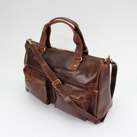 Distressed Brown Leather Weekend Holdall Travel by TheLeatherStore
