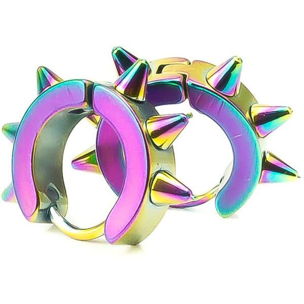 Reserved SEAPUNK Surgical Steel Rainbow Colored Earrings ($30) ❤ liked on Polyvore featuring jewelry, earrings, accessories, rainbow jewelry, earring jewelry, rainbow earrings, surgical steel earrings and surgical steel jewelry