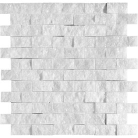 Sparkly Bathroom Marble Systems 5-Pack 12-in x 12-in White Marble Natural Stone Wall Tile