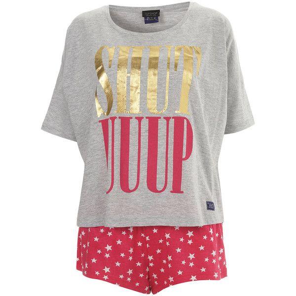Shut Uuup Tee & Shorts ($40) ❤ liked on Polyvore featuring intimates, sleepwear, pajamas, pijamas, pyjamas, women, cotton pjs, short pyjamas, cotton pyjamas and cotton sleepwear