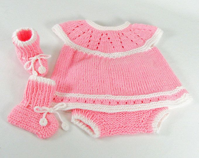 Baby Girl, Size 0-3 Months, Sweater Top, Diaper Cover & Booties Set, Pink/White, Totally Seamless Hand Knit, Baby Gift - READY TO SHIP