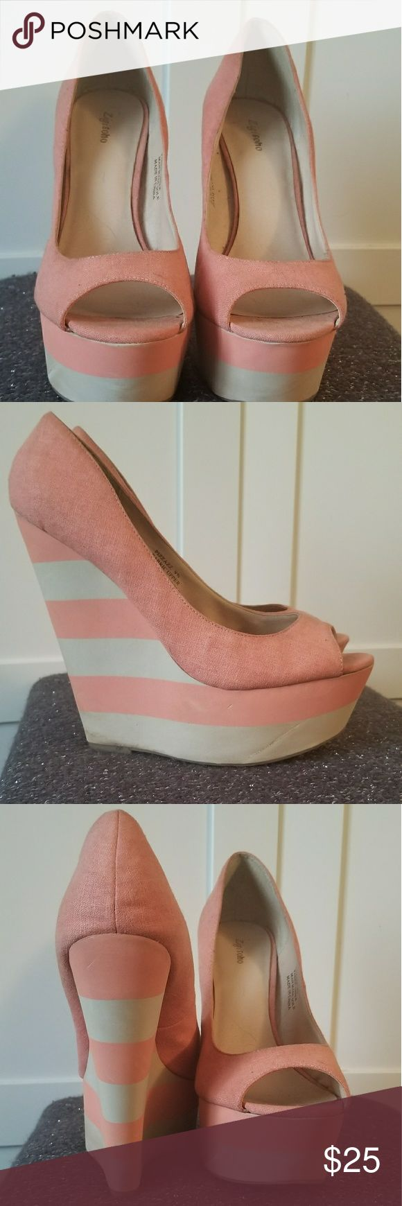 Peep toe Coral Striped Wedge Heel Size 9.5 Coral Linen Upper, beige and coral striped 5inch heel, platform base, peep toe. Couple of scuffs on heel. Zigi Soho Shoes Wedges