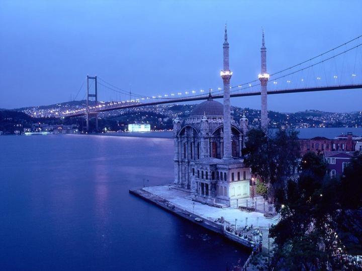 Bosphorus Bridge of Istanbul, Turkey connects Europe and Asia