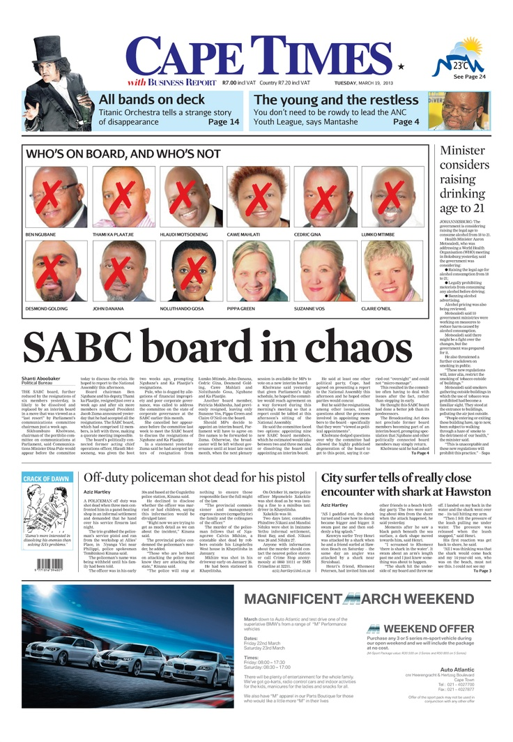 News making headlines:   SABC board in chaos