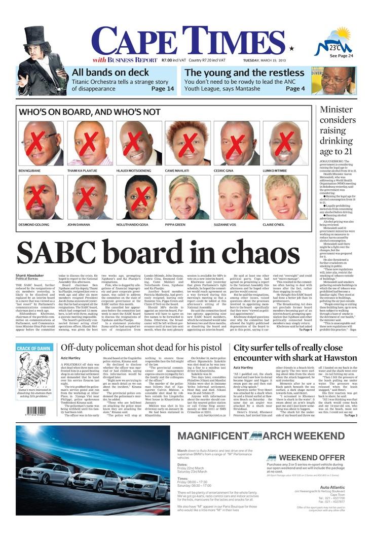 News making headlines:   SABC board in chaos