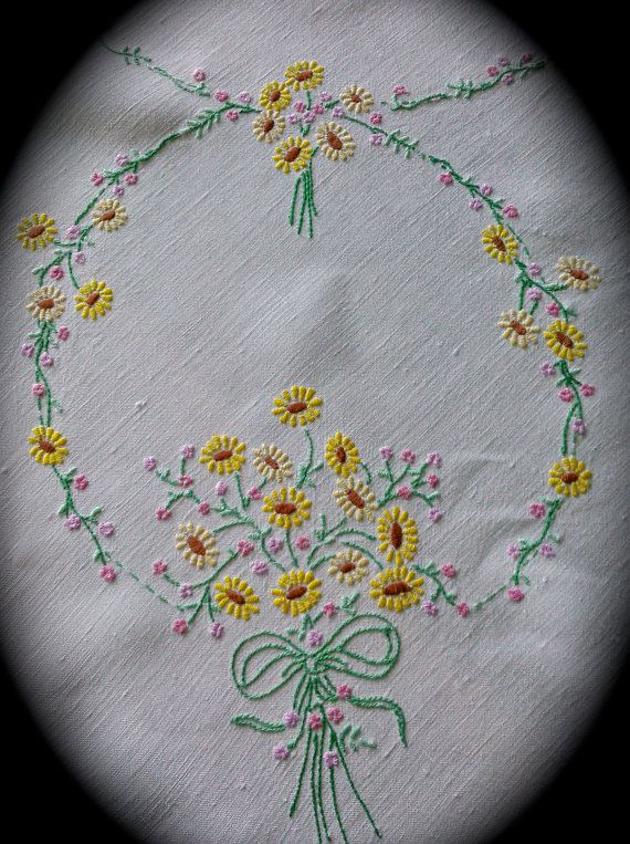 Hand Embroidered Daisy Chain Vintage Linen