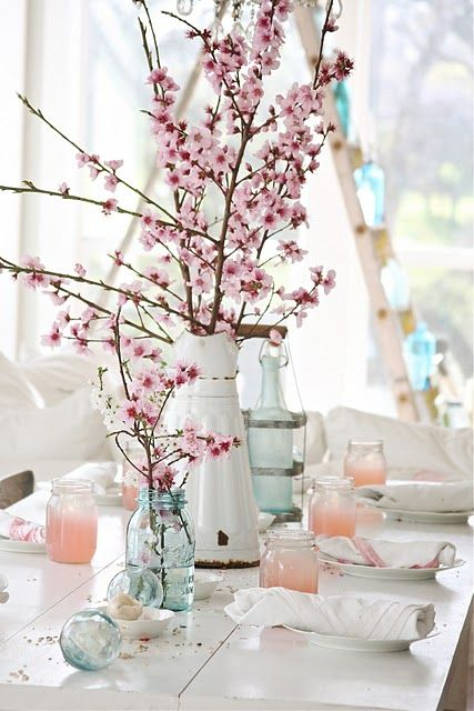 //: Dreamy White, Cherries Blossoms, Idea, Spring Flower, Tables Sets, Color, Centerpieces, Branches, Masons Jars