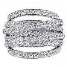 Domed Diamond Crossover Ring