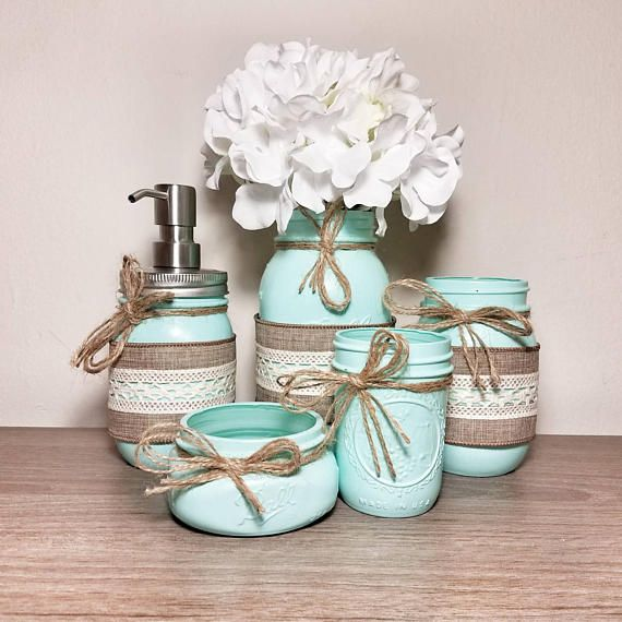 Check out this item in my Etsy shop https://www.etsy.com/listing/532559887/seafoam-green-mason-jar-bathroom-set