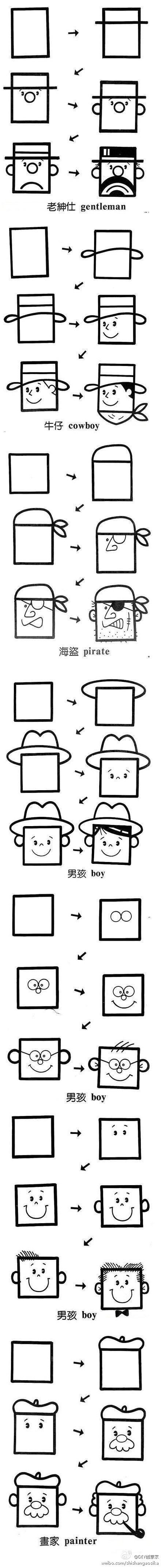 How to draw square faces. Great for block people