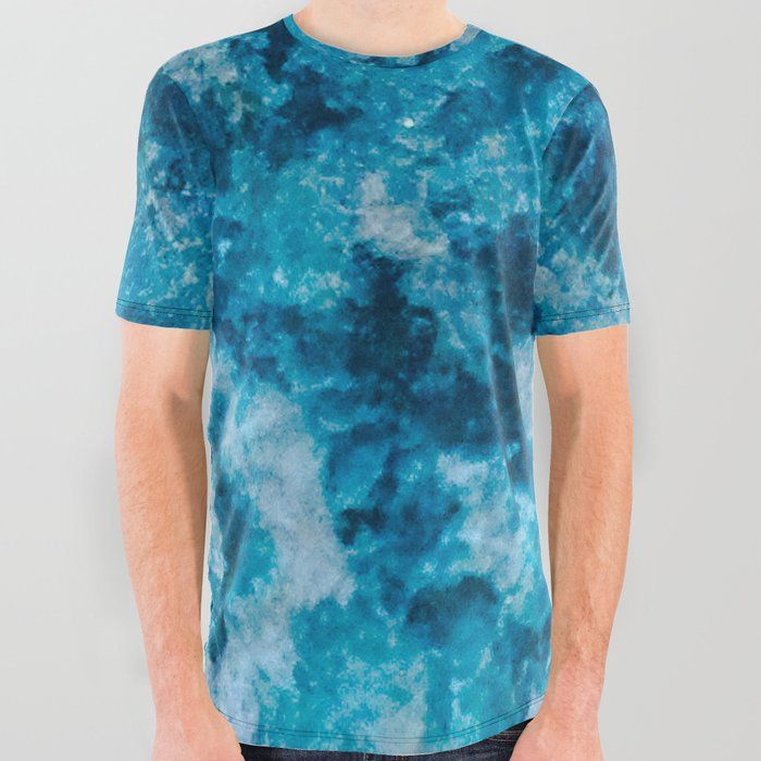 blue and white graphic tee mens