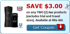 New Coupon!  Save $3.00 on any TWO (2) Axe products (excludes trial and travel sizes). Available at Rite Aid. - http://www.stacyssavings.com/new-coupon-save-3-00-on-any-two-2-axe-products-excludes-trial-and-travel-sizes-available-at-rite-aid/