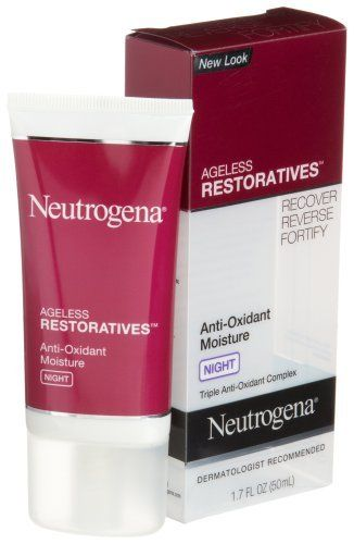 Neutrogena Ageless Restoratives Anti-Oxidant Moisture Night Cream, 1.7 Ounce by Neutrogena. $14.99. Smoothes texture. Dermatologist tested. Reduces fine lines. Neutralizes 99% of free radicals. Dermatologist Recommended. Even while you sleep, free radicals can attack your skin and cause premature signs of aging. Ageless Restoratives Anti-Oxidant Night Moisturizer helps neutralize 99% of free radicals* while also reversing the signs of aging such as fine lines, uneven...