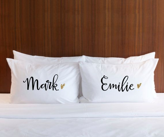 Personalized Gift Pillow Cases Couples by ZCreateDesign on Etsy