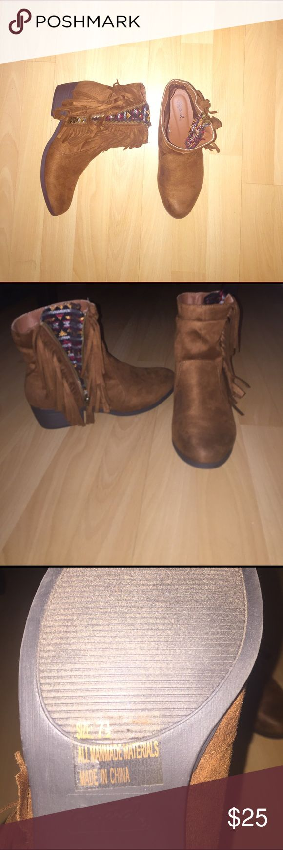 Fringe Ankle Boots Size 7.5 women's. Clean Soles. Gently used. Shoes Ankle Boots & Booties