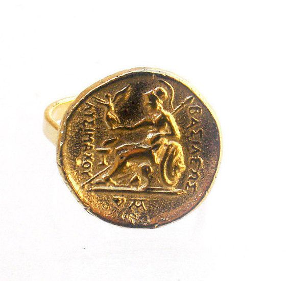 Old Coin Ring - Ancient Coin Ring -  Button Ring - Greek Tetradrachm Ring - Ancient Greek Coin Ring - Brass Coin Ring - Athena Ring