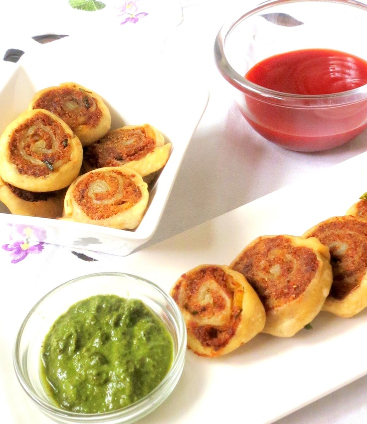 Potato Spirals ~ Home made pastry slices filled with mildly spiced potato mixture