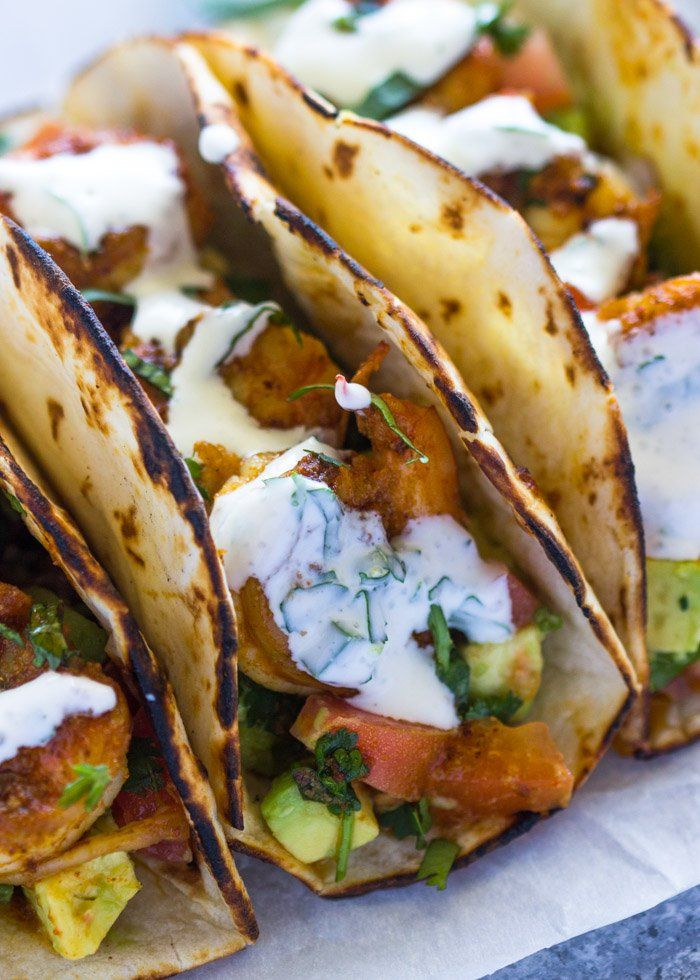 Spicy Shrimp Tacos with Avocado Salsa & Sour Cream Cilantro Sauce #DollopOfDaisy #AD