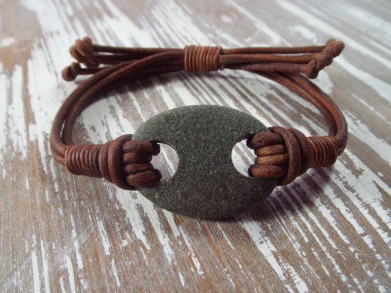 Scottish Sea Pebble Bracelet LeatherMade to by byNaturesDesign, $16.00