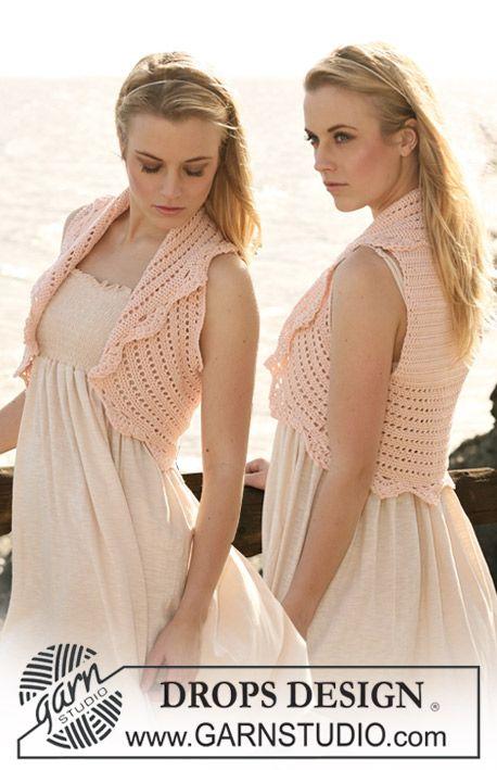 """Free pattern: Crochet DROPS waistcoat in """"Muskat"""". Size S - XXXL."""